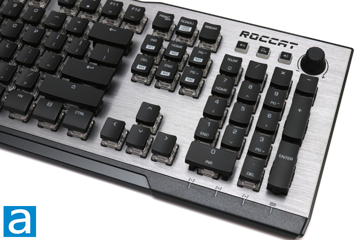 c83da6e83c3 On the right side, we have a few more interesting inputs. At the top edge  of the ROCCAT Vulcan 120 AIMO, we have three buttons. The first is a Mute  one, ...