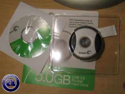 Inside the UPS Express box is a Seagate 5GB Pocket USB Hard Drive in retail